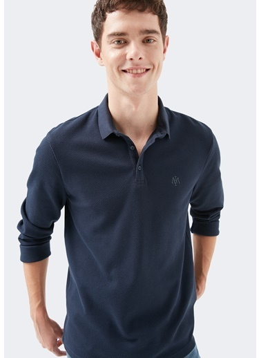 Mavi Uzun Kollu  Polo Tişört Lacivert